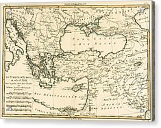 Antique Map Of Turkey Acrylic Print by Guillaume Raynal