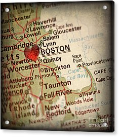 Antique Map With A Heart Over The City Of Boston In Massachusett Acrylic Print by ELITE IMAGE photography By Chad McDermott