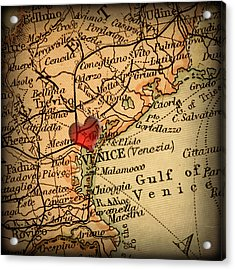 Antique Map With A Heart Over The City Of Venice In Italy Acrylic Print by ELITE IMAGE photography By Chad McDermott