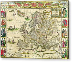 Antique Maps Of The World Map Of Europe Willem Blaeu C 1650 Acrylic Print