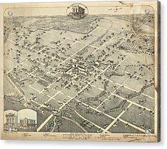 Antique Maps - Old Cartographic Maps - Antique Birds Eye View Map Of Denton, Texas, 1883 Acrylic Print