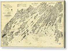 Antique Maps - Old Cartographic Maps - Antique Map Of Casco Bay, Maine, 1870 Acrylic Print