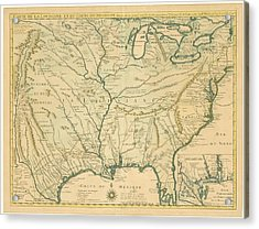 Antique Maps - Old Cartographic Maps - Antique Map Of Louisiana - Course Of Mississippi, 1718 Acrylic Print