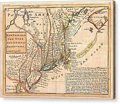 Antique Maps - Old Cartographic Maps - Antique Map Of New York, New England And Pennsylvania, 1729 Acrylic Print