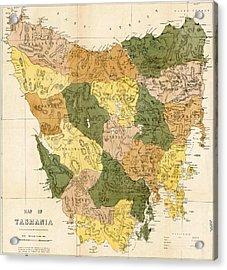 Antique Maps - Old Cartographic Maps - Antique Map Of Tasmania, 1870 Acrylic Print