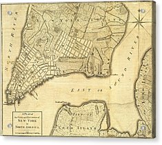 Antique Maps - Old Cartographic Maps - City Of New York And Its Environs Acrylic Print