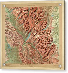 Antique Maps - Old Cartographic Maps - Relief Map Of Glacier National Park, Montana Acrylic Print