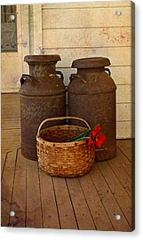 Antique Milk Cans On Porch Acrylic Print by Carmen Del Valle