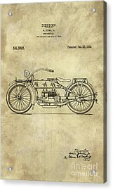 Antique Motorcycle Blueprint Patent Drawing Plan From 1919, Industrial Farmhouse Acrylic Print