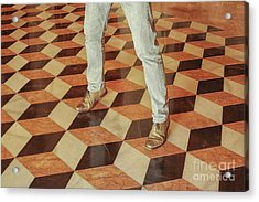 Acrylic Print featuring the photograph Antique Optical Illusion Floor Tiles by Patricia Hofmeester