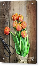 Acrylic Print featuring the photograph Antique Scissors And Bouguet Of Tulips by Stephanie Frey