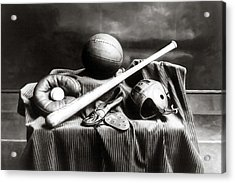 Acrylic Print featuring the photograph Antique Sports Equipment - American Athletics by Mark Tisdale