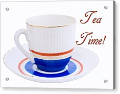 Antique Teacup From Japan With Tea Time Invitation Acrylic Print by Vizual Studio