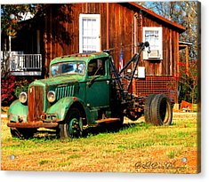 Antique Tow Truck Acrylic Print by Barbara Bowen