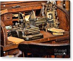 Antique Typewriter Acrylic Print by Paul Ward