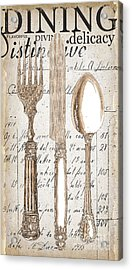 Antique Utensils For Kitchen And Dining In White Acrylic Print by Grace Pullen