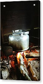 Antique Water Kettle On A Fire In Malaysia Acrylic Print by Gosta Eger