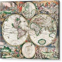 Antique World Map Acrylic Print by Dutch School