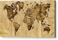 Antique World Map Acrylic Print by Radu Aldea