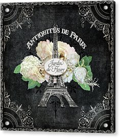 Antiquities De Paris Eiffel Tower  Floral Acrylic Print by Audrey Jeanne Roberts