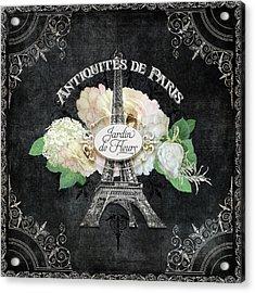 Antiquities De Paris Eiffel Tower  Floral Acrylic Print by Audrey Jeanne Roberts