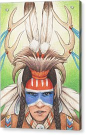 Antlered Warrior Acrylic Print by Amy S Turner