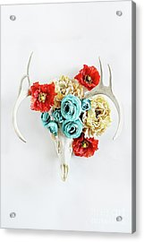 Acrylic Print featuring the photograph Antlers And Florals by Stephanie Frey