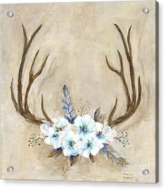 Antlers And Flowers Acrylic Print