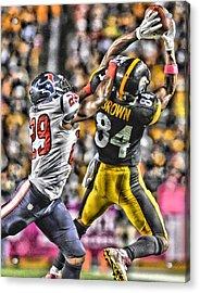 Antonio Brown Steelers Art 4 Acrylic Print by Joe Hamilton