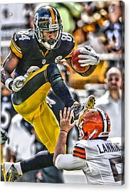 Antonio Brown Steelers Art 5 Acrylic Print by Joe Hamilton