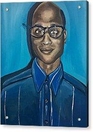 Black Man Cartoon Art, Nerd Guy With Glasses, Painting Acrylic Print