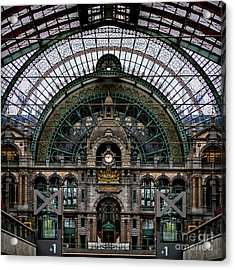 Antwerp Train Terminal Acrylic Print by Doug Sturgess