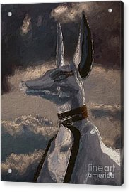 Anubis God Of Egypt By Mary Bassett Acrylic Print