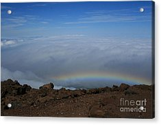 Anuenue - Rainbow At The Ahinahina Ahu Haleakala Sunrise Maui Hawaii Acrylic Print
