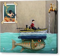 Anyfin Is Possible - Fisherman Toy Boat And Mermaid Still Life Painting Acrylic Print by Linda Apple