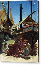 Anzio The Port Acrylic Print by Antoine Auguste Ernest Hebert