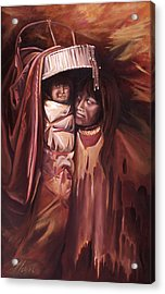 Acrylic Print featuring the painting Apache Girl And Papoose by Nancy Griswold