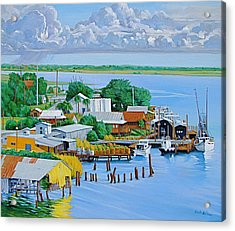 Apalachicola Waterfront Acrylic Print by Neal Smith-Willow