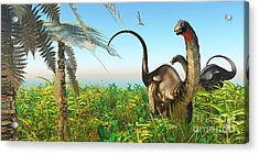 Apatosaurus Dinosaur Garden Acrylic Print