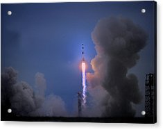 Apollo 11 Blasts Off On Mans First Acrylic Print by O. Louis Mazzatenta