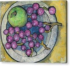 Apple And Grapes Acrylic Print by Barbara Nye