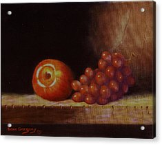 Apple And Grapes Acrylic Print by Gene Gregory