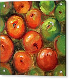 Acrylic Print featuring the painting Apple Barrel Still Life by Nancy Merkle