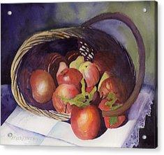 Apple Basket Acrylic Print by Kathy Nesseth