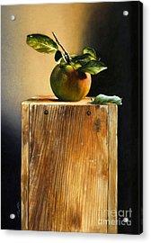 Apple On A Box Acrylic Print by Larry Preston