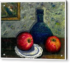 Apples And Bottles Acrylic Print by Gail Kirtz