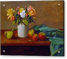 Apples And Flowers Acrylic Print by David Olander