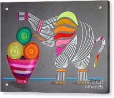 Apples And Oranges And Elephants, Oh My -- Whimsical Still Life W/ Elephant Acrylic Print