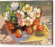 Apples And Peonies Acrylic Print by Diane McClary