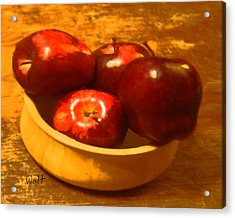 Apples In A Bowl Acrylic Print by Walter Chamberlain